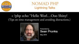 """?php echo """"Hello Worl…Ooo Shiny! (Tips on time management and avoiding distractions.)"""
